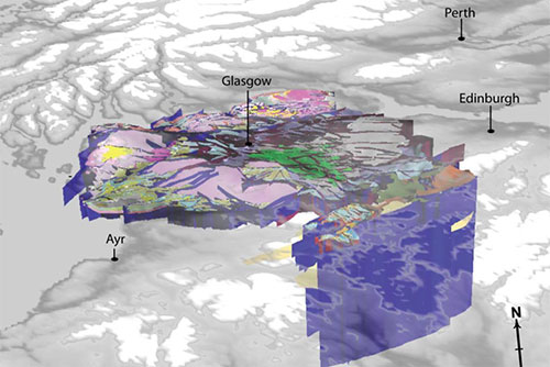 3D Geological model of the Coal Field Geology under Glasgow