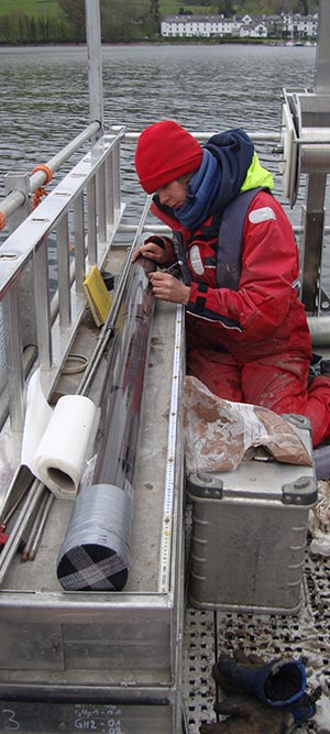 Core sampling on a boat