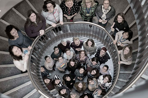 Lyell Centre ladies on spiral staircase